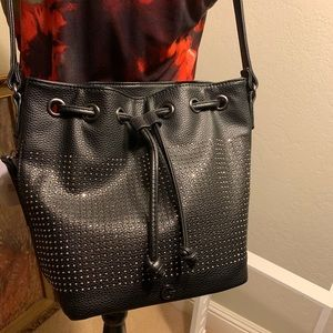 Black G by Guess rhinestone bucket bag